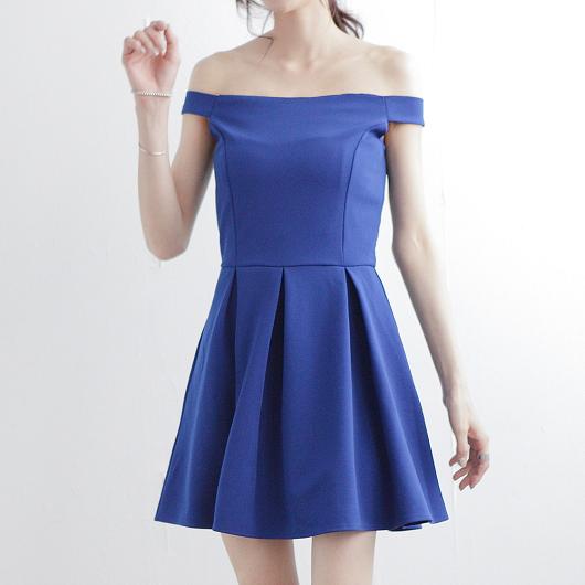 知性魅力立體打褶素色一字領洋裝