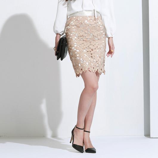 性感維納斯鏤空棉布蕾絲及膝裙/短裙