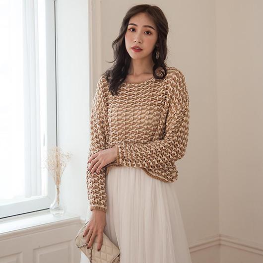 KODZ-性感韓妞雙色鏤空鉤織寬版上衣