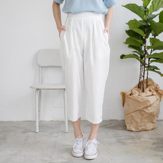 直條紋打褶寬版八分褲