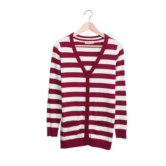 KODZ-橫條紋針織外套