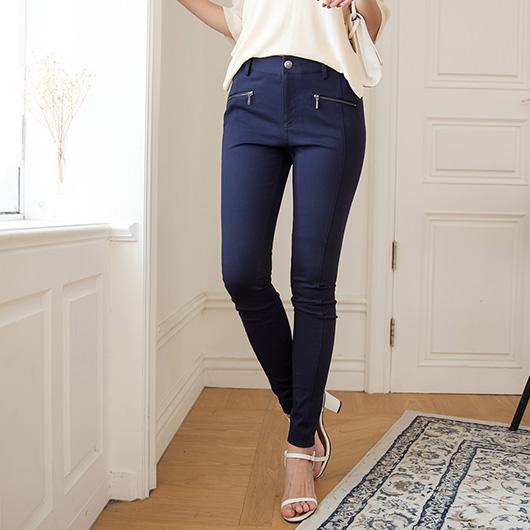 KODZ-簡約時尚造型拉鍊口袋窄管褲