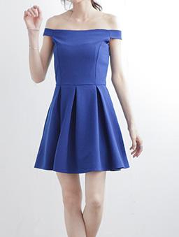 知性魅力立體打褶素色一字領洋裝-彩藍