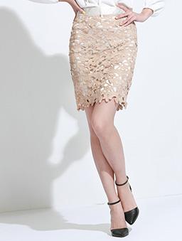 性感維納斯鏤空棉布蕾絲及膝裙/短裙-杏色