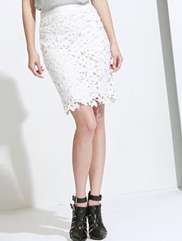 性感維納斯鏤空棉布蕾絲及膝裙/短裙-白色