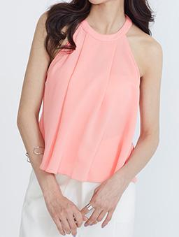 清新女孩素色削肩打褶雪紡短版上衣-粉色