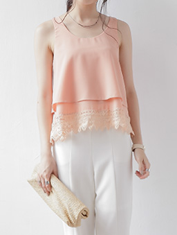 甜美滿分蕾絲素色雪紡背心/上衣-粉色
