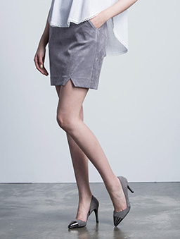 MIT性感韓妞麂皮絨小開衩短裙-灰色