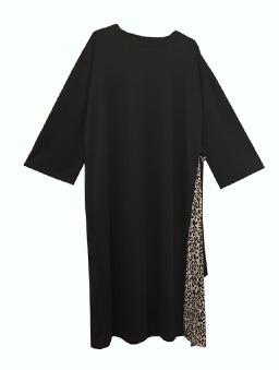 PrivateBeach-親膚圓領開衩拼接百褶雪紡長袖洋裝-黑白