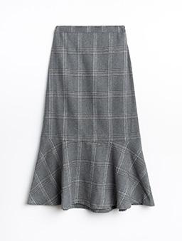 PrivateBeach-英倫風格紋毛呢質感長版魚尾裙-灰