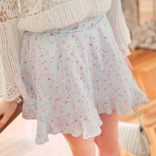 甜蜜時刻小碎花荷葉襬褲裙