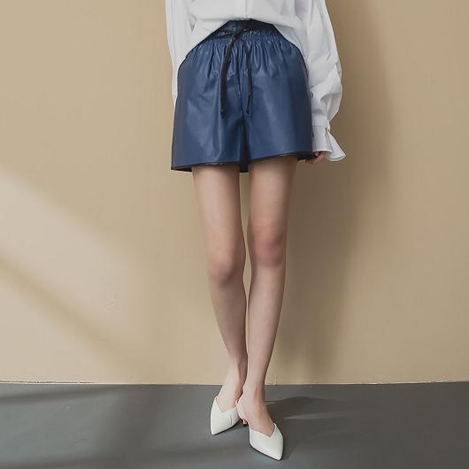 KODZ-休閒帥氣腰部抽繩滾邊配色異材質短褲