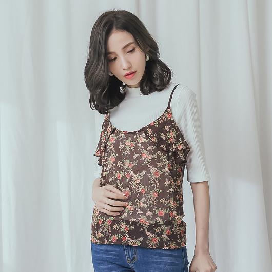 韓國姐姐荷葉印花細肩帶背心