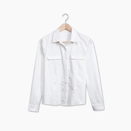 KODZ-造型翻蓋假口袋襯衫