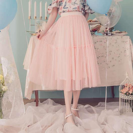 YOCO-浪漫花語優雅層次拼接網紗中長裙