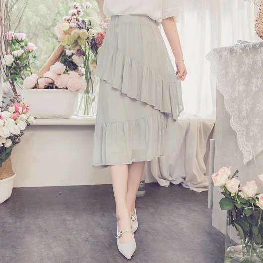 YOCO-onni最愛波浪層次拼接雪紡長裙