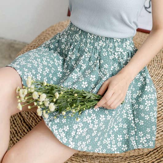 傘襬印花褲裙