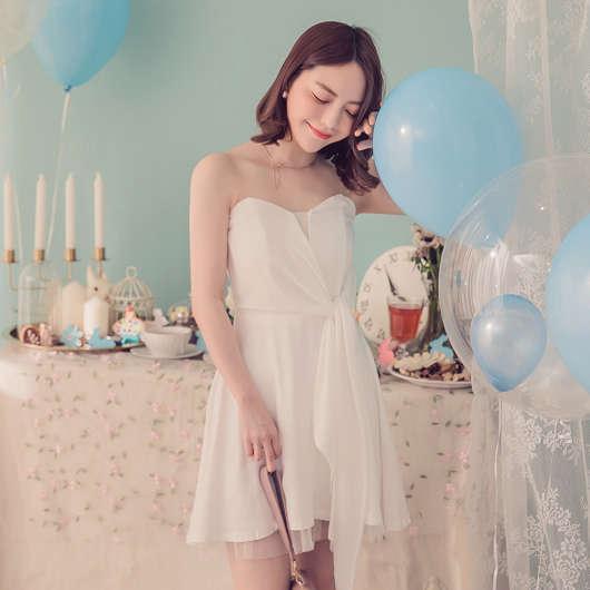 YOCO-仙女onni平口蝴蝶結綁帶傘襬洋裝