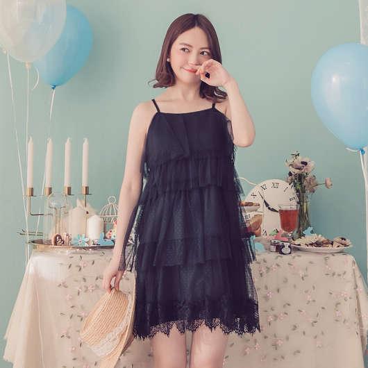 YOCO-浪漫俏麗蛋糕層次網紗細肩帶洋裝