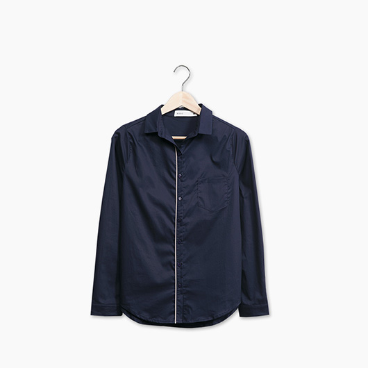 KODZ-撞色滾邊長袖襯衫