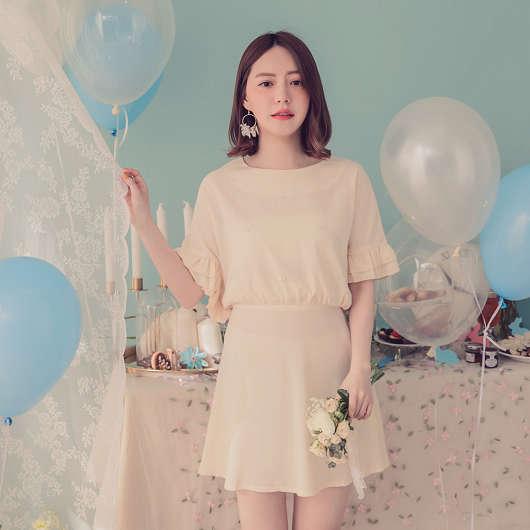 YOCO-名媛千金綴珠荷葉袖洋裝