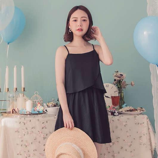 YOCO-優雅知性拼接網紗細肩帶小洋裝