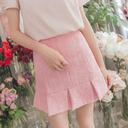 浪漫雅緻氣質典雅荷葉蕾絲短裙