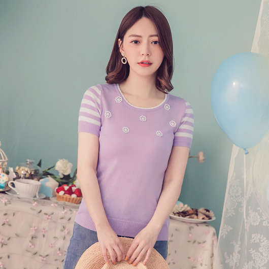 YOCO-輕柔甜美綴珠針織短袖上衣