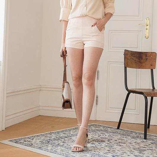 KODZ-舒適百搭口袋造型素面高腰短褲