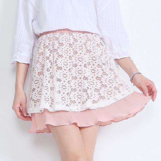 日雜款鏤空蕾絲細百褶短裙