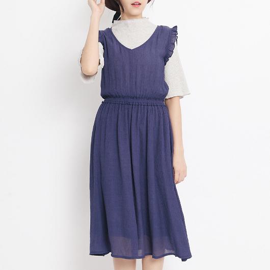 優雅恬美荷葉袖縮腰長洋裝