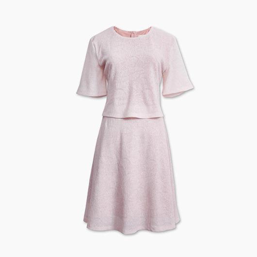 KODZ-背部開衩假兩件短袖洋裝