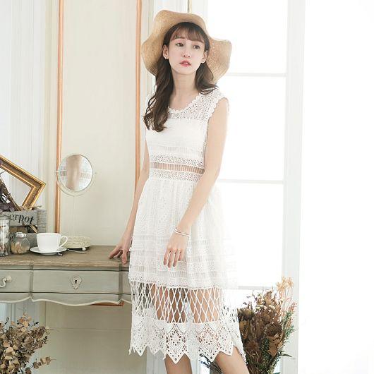 SEA日雜款鏤空蕾絲洋裝