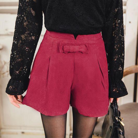 蝴蝶結裝飾高腰打褶短褲