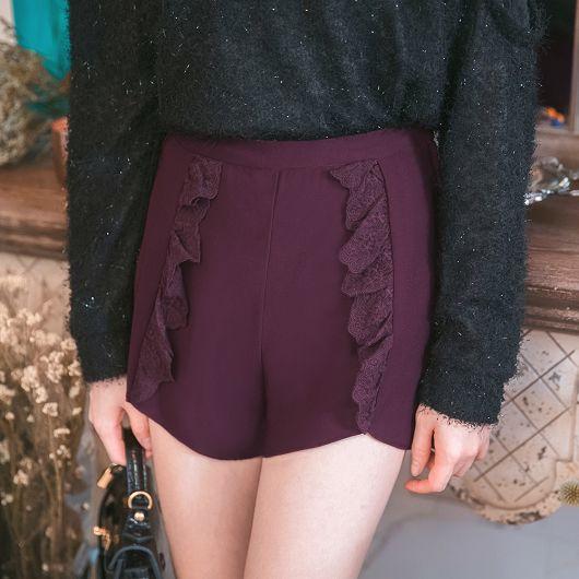 自訂款蕾絲拼接短褲