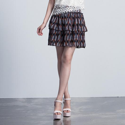 浪漫異國印花多層次蛋糕短裙