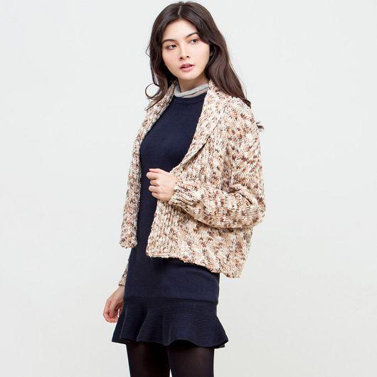 混色粗針織外套