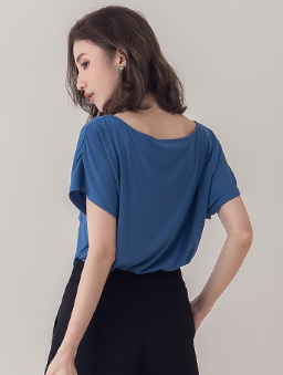 KODZ-休閒愜意高級棉料圓領T恤上衣-藍