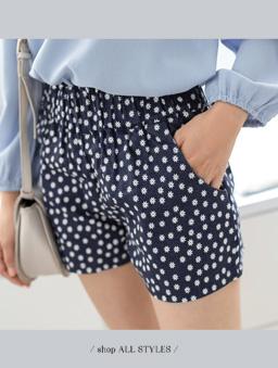 花朵圖案高腰短褲-深藍