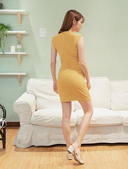 簡約性感多色方領顯瘦修身洋裝-芥末黃