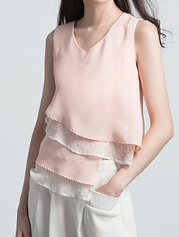 滿分甜心雙色層次飄逸背心/上衣-粉色