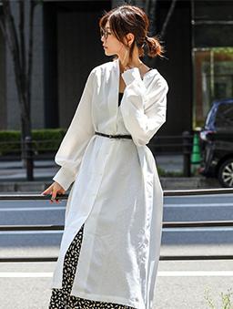 FashionLetter-圓領前後排扣長版襯衫罩衫-白色