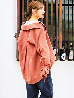 FashionLetter-翻領琥珀排釦前短後長風衣外套-橘
