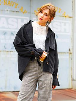 FashionLetter-翻領琥珀排釦前短後長風衣外套-黑