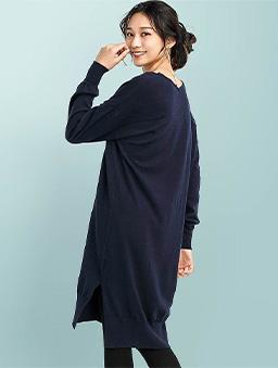FashionLetter-V領前短後長側開衩落肩上衣-深藍