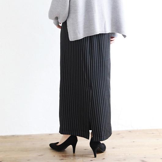 SILKY-高腰後開衩條紋A字裙