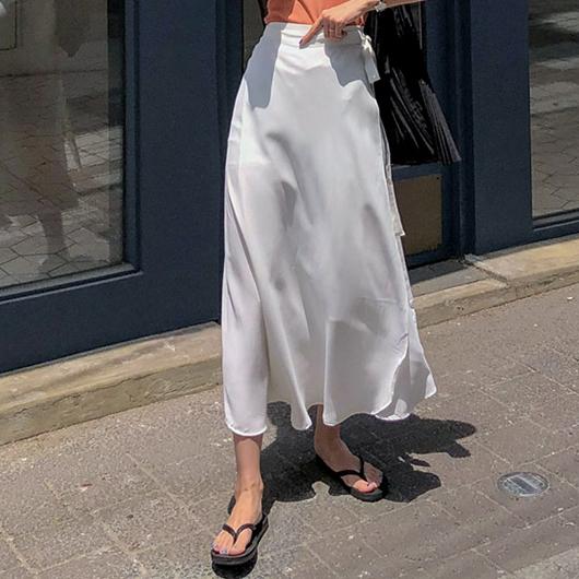 MERONGSHOP-輕柔漫步側綁結一片式飄逸長裙