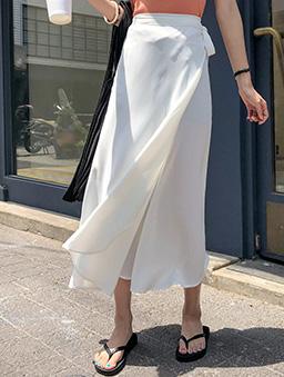 MERONGSHOP-輕柔漫步側綁結一片式飄逸長裙-米白