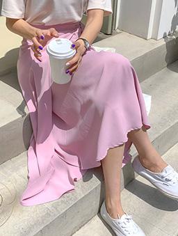 MERONGSHOP-輕柔漫步側綁結一片式飄逸長裙-粉色