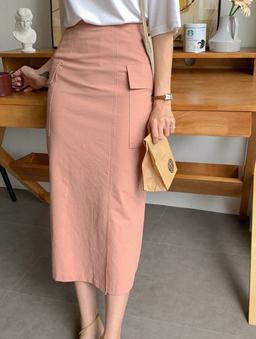 MERONGSHOP-草莓奶昔修身雙口袋開衩長裙-粉色